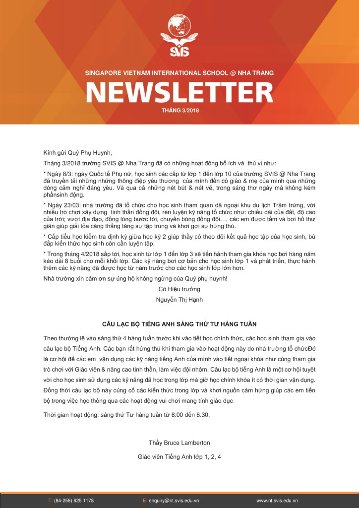 SVIS Newsletter- Mar 2018 (VN) to parents 05.Apr.18-1