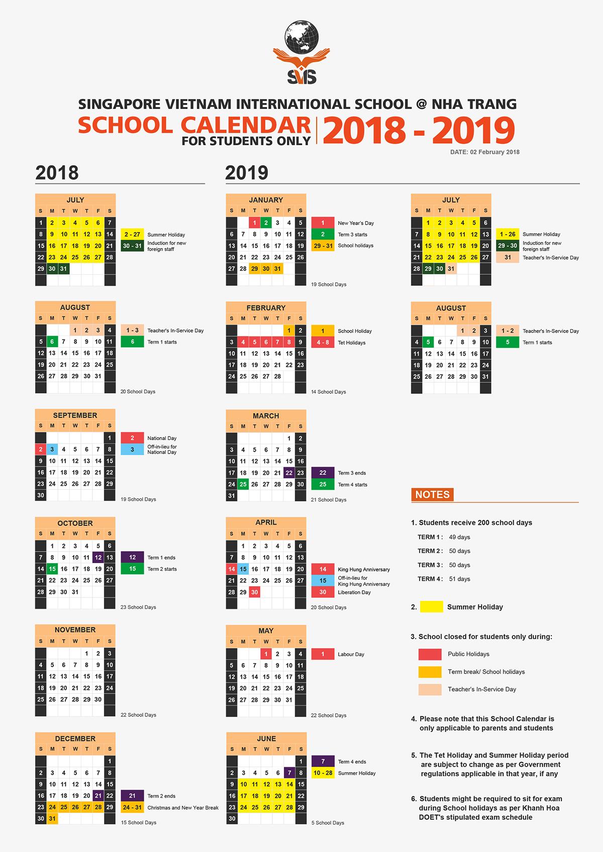 School Calendar 2018 - 2019_SVIS @ NT